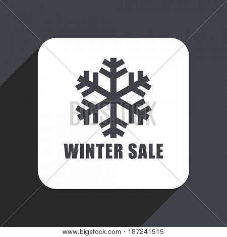 Winter sale flat design web icon isolated on gray background