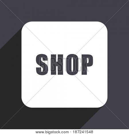 Shop flat design web icon isolated on gray background