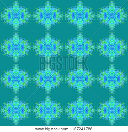 Abstract geometric seamless background. Regular oval pattern light blue, azure, bright green and mint on dark green.