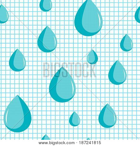 Blue drops rainy day. Enuresis incontinence and micturition drops. Medicine medical problems vector seamless pattern