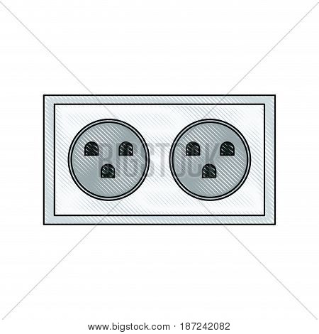 drawing energy electricity socket power vector illustration