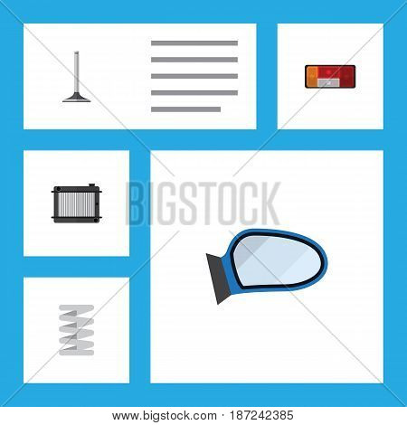 Flat Parts Set Of Car Segment, Heater, Auto Component And Other Vector Objects. Also Includes Wing, Taillight, Segment Elements.