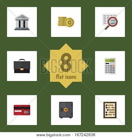 Flat Exchequer Set Of Portfolio, Counter, Payment And Other Vector Objects. Also Includes Finance, Shiner, Counter Elements.