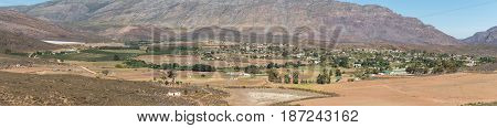 A panoramic view of Barrydale a village in the Western Cape Province
