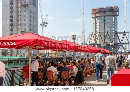 Dockside Restaurant In Canary Wharf Packed With People