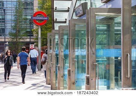 London UK - May 10 2017 - East entrance to Canary Wharf underground station