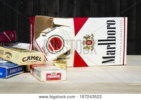 Prague, Czech Republic - March 25: Packs Of Different Cigarette Brands Photographed On March 25, 201