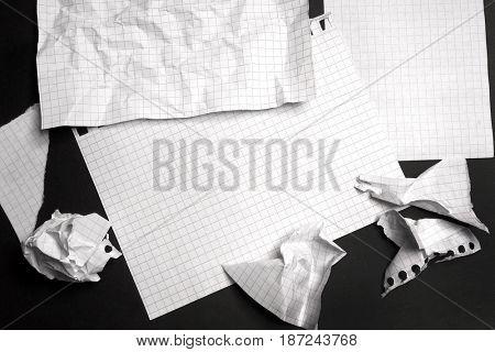 White sheet on a black background