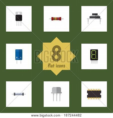 Flat Appliance Set Of Microprocessor, Transistor, Resistor And Other Vector Objects. Also Includes Calculate, Resistance, Receiver Elements.