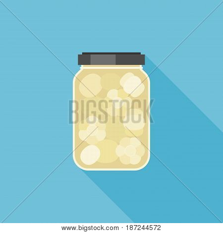 pickled garlic in glass jar illustration, flat design vector