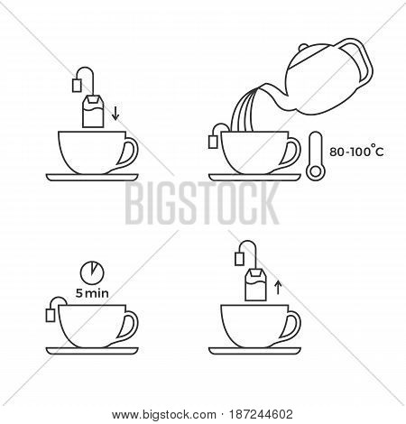 tea preparation for use in packaging, outline icon