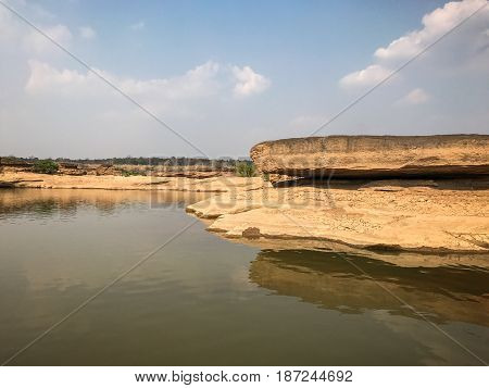 The Amazing of Rock,Natural of Rock Canyon in Khong River after the water come down in Summer,Three Thousand Hole,Ubonratchathanee Province,North East of Thailand