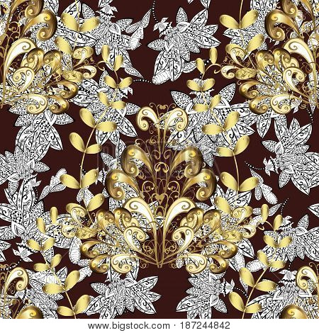 Seamless pattern on brown background with golden elements. Seamless classic vector golden pattern. Traditional orient ornament classic vintage background.
