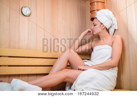 Beauty girl enjoy in sauna and spa .