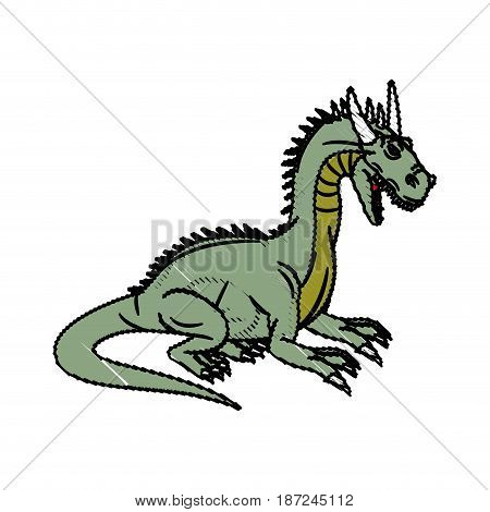 fairy tale dragon animal mystic fantasy vector illustration