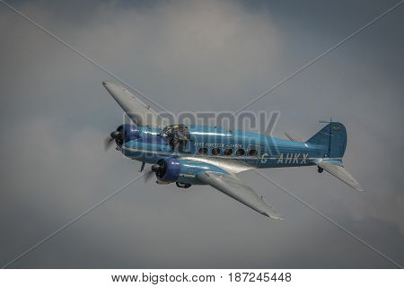 Biggleswade UK - 7th May 2017: Vintage Avro Anson in flight