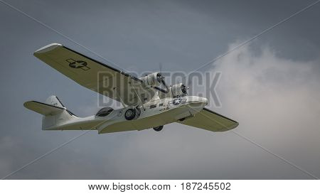 Biggleswade UK - 7th May 2017: A Consolidated PBY Catalina. Vintage USN flying boat
