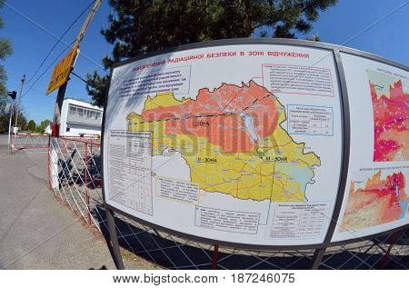 Checkpoint of Chernobyl Exclusion Zone.Visitors information,May 19, 2017.Kiev region.Ukraine