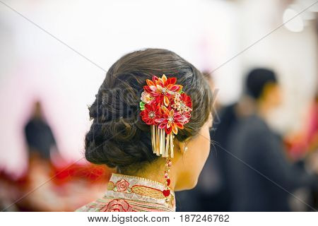 The headdress of the bride in a Chinese wedding