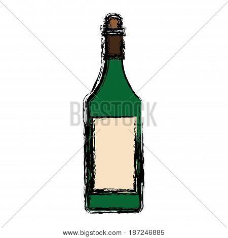 wine bottle icon over white background. vector illustration