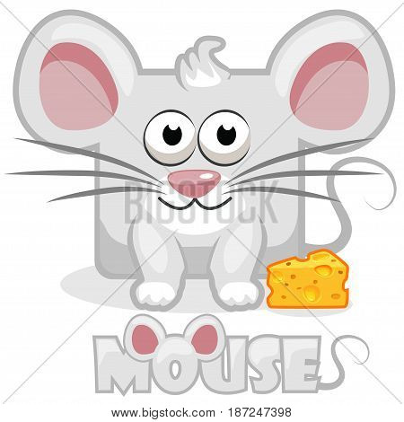 Cute cartoon square grey mouse and cheese. Set vector animals