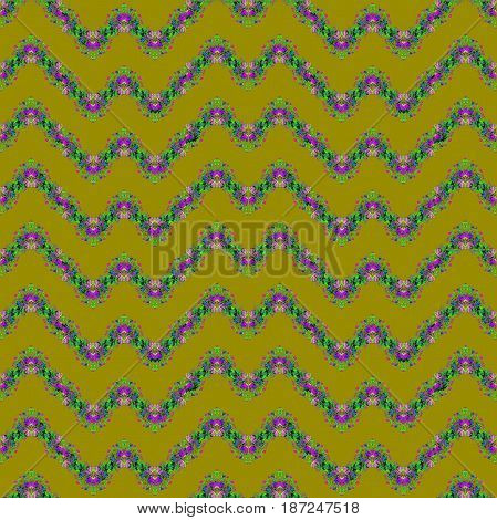 Abstract geometric seamless background. Regular zigzag pattern purple, violet and light green on olive green.