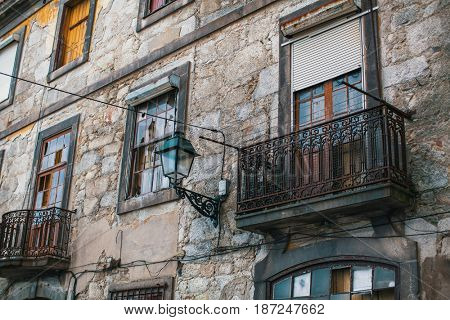 Abandoned house buildings in old Porto downtown, Portugal. Ancient ruins of Europe.
