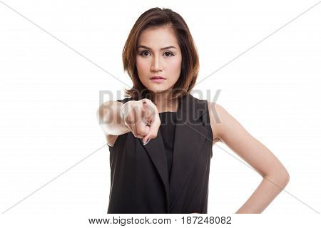 Young Asian Woman Angry And Point To Camera.