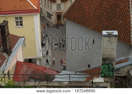 A view from above on one of the streets of the city of Tallinn. Photo taken in Tallinn on July 19, 2015