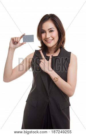 Young Asian Woman Point To A Blank Card.
