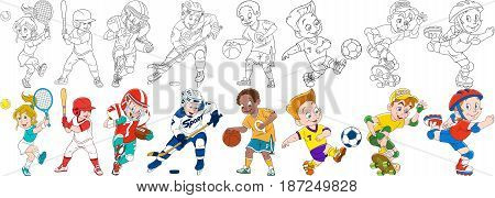 Cartoon sportive children set. Sport collection. Boys and girls playing tennis baseball american football (rugby) hockey basketball roller skating skateboarding. Coloring book pages for kids.