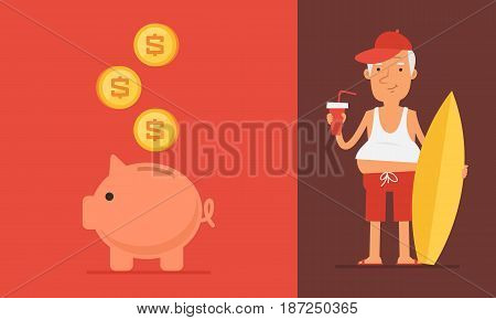 Pension Concept Elderly Man And Piggy Bank