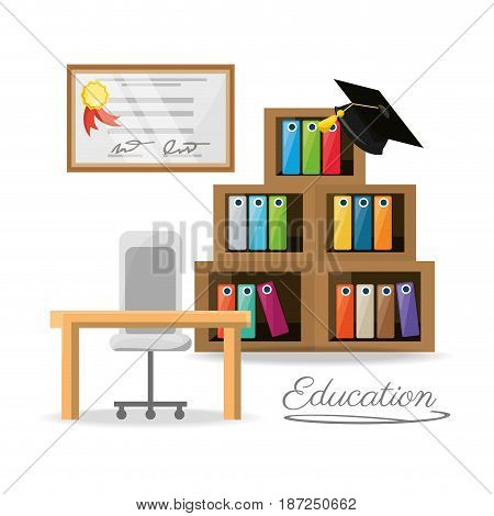 nice office with bookcase and diploma, vector illustration design