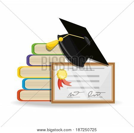 cute books with diploma and cap graduation, vector illustration