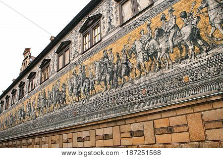 Furstenzug Procession of Princes, 1871-1876, 102 meter, 93 people is a giant mural decorates the wall. Dresden, Germany.