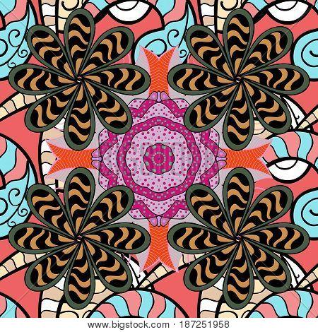 Abstract Mandala. Islam Arabic Indian turkish pakistan chinese ottoman motifs. Vector illustration. Vintage decorative elements. Oriental colored pattern on white background.