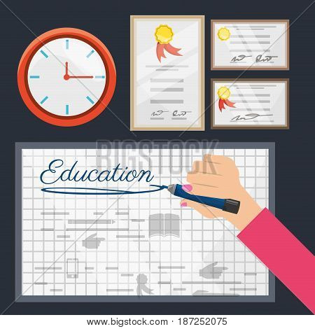 class board with clock and diplomas, vector illustration design
