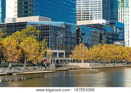 Melbourne Southbank Cityscape And Yarra River