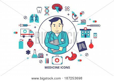 Flat line vector illustration Cardiologist Dr. with a lot of medical icons around. For brochures and websites.