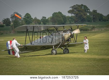Biggleswade UK - 7th May 2017: Vintage Hawker Tomtit readies for flight