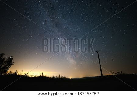 stars of Milky Way galaxy at night in Ukraine