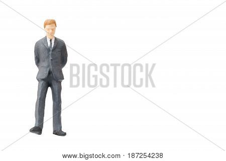 Miniature people businessman on white background with clipping path