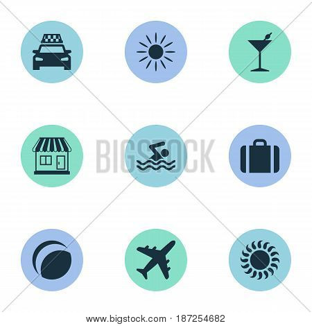 Vector Illustration Set Of Simple Seaside Icons. Elements Store, Beach Games, Suitcase And Other Synonyms Taxi, Heat And Airplane.
