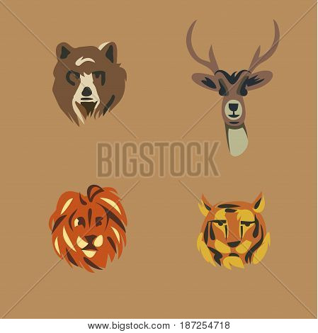 Vector illustration icon set of wild animals: bear, deer, lion tiger