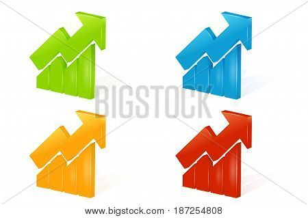 Set of abstract 3D chart icons with arrow and shadow on white background - vector illustration