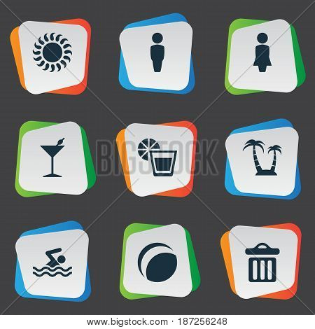 Vector Illustration Set Of Simple Beach Icons. Elements Swimming Man, Garbage, Palm And Other Synonyms Party, Dustbin And Palm.