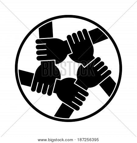 Vector Illustration Of Five Human Hands Silhouettes Holding Eachother For Solidarity And Unity
