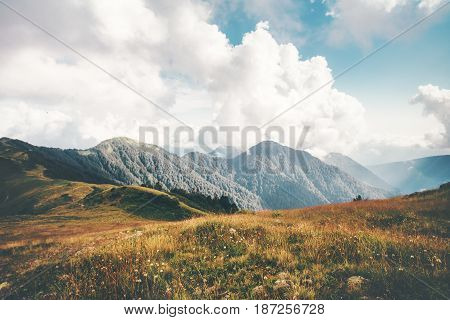 Mountains and clouds Landscape Summer Travel serene scenic aerial view atmospheric scene