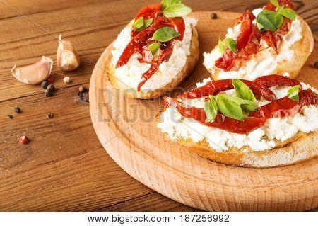 Italian Sandwiches - Bruschetta With Cheese, Tomato And Basil