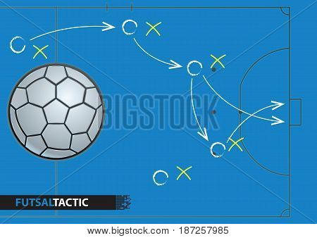 Futsal game strategy plan. Vector illustration. Sport infographics element.